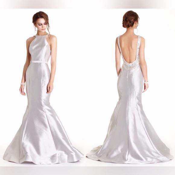 Dresses | Nwt Silver Satin Mermaid Gown Prom Dress | Poshmark